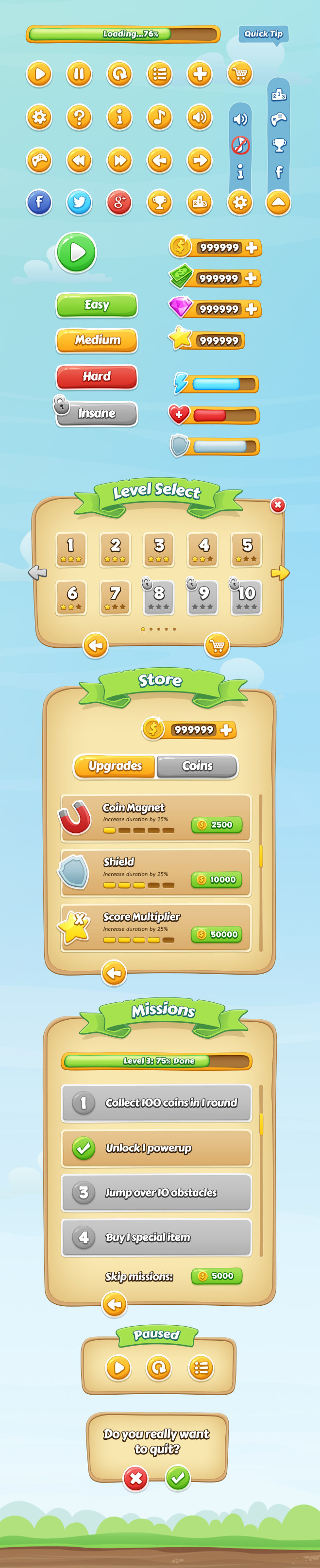 Mobile Game GUI by Graphic Burger
