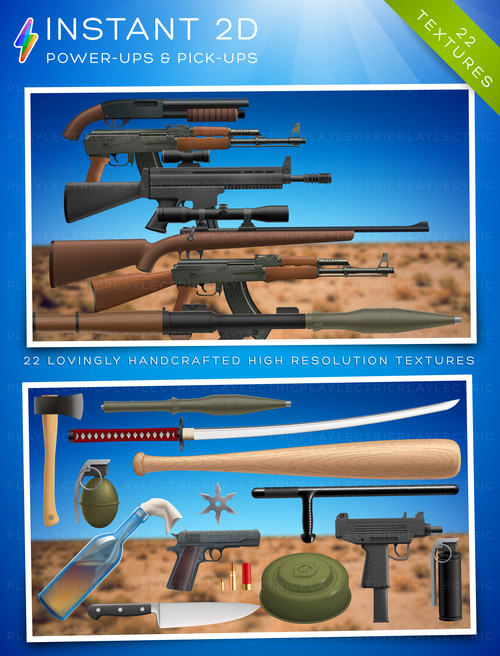 Instant 2D - Modern Weapons by Playlectric: Lovingly handcrafted textures for your games.